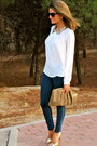 White-forever-21-blouse-navy-abercrombie-and-fitch-jeans