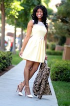 light yellow crochet Forever 21 dress - brown baroque H&amp;M blazer