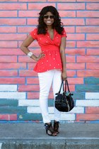 white Target pants - black Juicy Couture bag - black cynthia rowley sunglasses