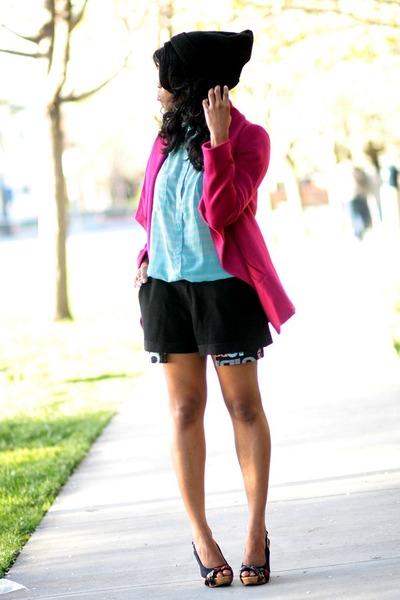 magenta Nasty Gal blazer - black boy meets girl shorts