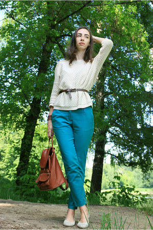 white Mango sweater - turquoise blue Zara pants