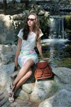 bubble gum H&M skirt - white Topshop blouse