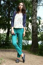 navy Zara boots - turquoise blue Zara pants