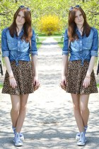 print H&M skirt - jean Stradivarius shirt