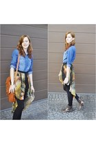 galaxy romwe skirt - jean Stradivarius shirt - brown wholesale bag