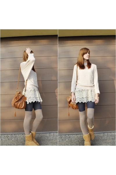 woollen OASAP sweater - brown Emu shoes - lace OASAP skirt