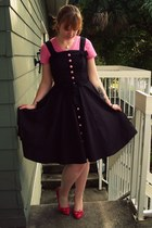 hot pink Not Rated shoes - black modcloth dress - bubble gum Old Navy shirt
