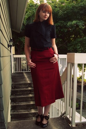 brick red thrifted skirt - black Plasticland shoes - black vintage shoes