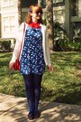 Black-wal-mart-shoes-blue-modcloth-dress-ivory-thrifted-sweater-red-vintag