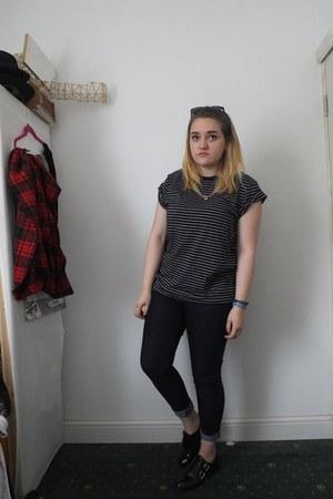 navy Primark jeans - navy asos shirt - silver Homesick jumper - black Ebay flats
