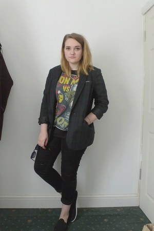 forest green tartan Primark blazer - black next jeans