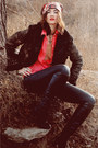 Black-sheepskin-coat-boots-black-jeans-black-jacket-red-bershka-shirt