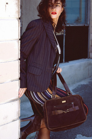 striped dress - gray striped jacket - dark brown bag