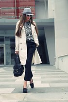 white Gucci sunglasses - heather gray Zara blouse - dark gray Kenzo pants