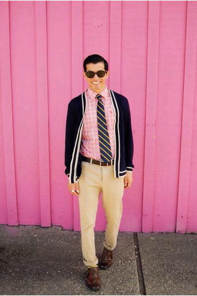 brown oxfords Steve Madden shoes - pink button down Original Penguin shirt