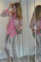 snakeskin print Zara pants - leather danier jacket - Clutches of Karma bag