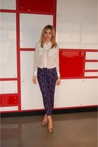 navy polka dot print H&M pants - cream Joe Fresh blouse