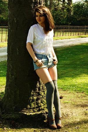 white vintage blouse - blue Topshop shorts
