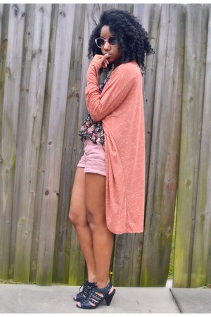 black Ross top - light pink Forever 21 shorts - coral cotton on cardigan