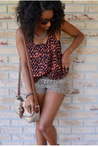 camel TJ Maxx shorts - beige Goodwill bag - red H&M top - silver kohls necklace