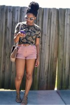 olive green Goodwill top - camel Ross bag - light pink Forever 21 shorts