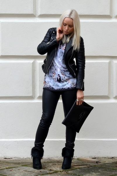 Givenchy bag - Sergio Rossi boots - black Celine jacket - Helmut Lang leggings