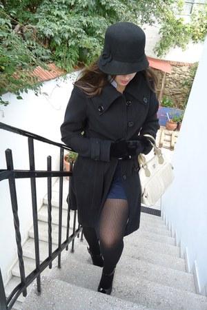 black hat - black coat - white Axel bag - dark blue skirt - stockings