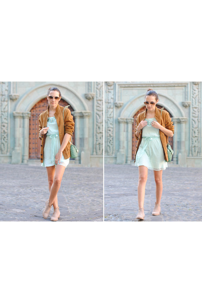 light blue Primark dress - beige Betty London boots