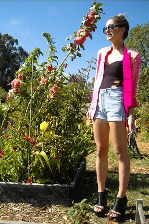 pink vitnage jacket - black asos top - blue Levis shorts - black Jeffrey Campbel