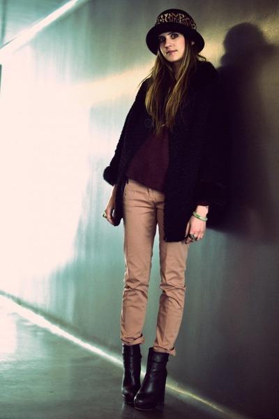 dark brown boots Steve Madden shoes - black fur vintage coat - dark brown leopar