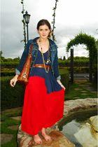red LF skirt - blue LF shirt - brown Zara belt - gold vintage accessories - blue