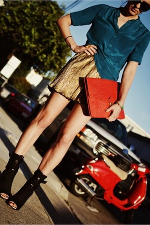 gold Forever 21 skirt - black Jean Michel Cazabat shoes