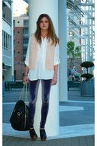 white Zara blouse - beige LF vest - blue Alice  Olivia leggings - black Jeffrey