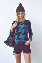 houndstooth brooklyn industries sweater - beanie husbands hat
