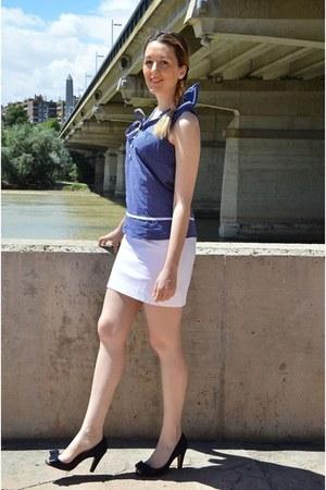 white Mango skirt - blue BLANCO shirt - dark brown Bershka bag