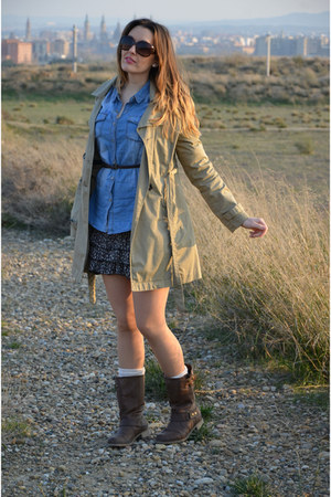 blue BLANCO shirt - dark brown BLANCO boots - dark brown Fórmula joven dress