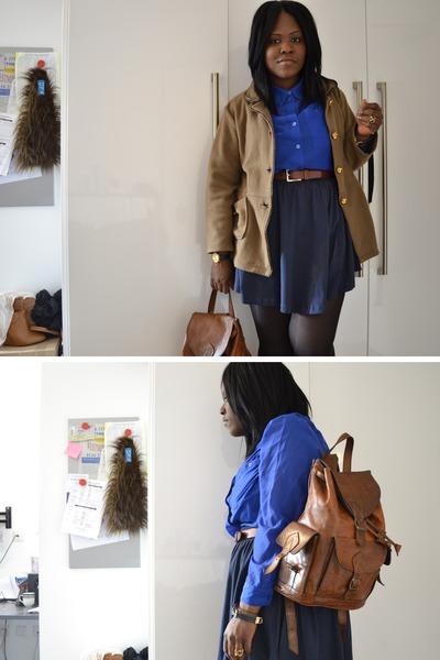 brown vintage jacket - blue H&M shirt - dark brown Morocco bag - navy H&M skirt