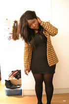 black H&M dress - mustard vintage blazer