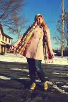light pink Jessica Simpson coat - olive green Ecko Red shoes