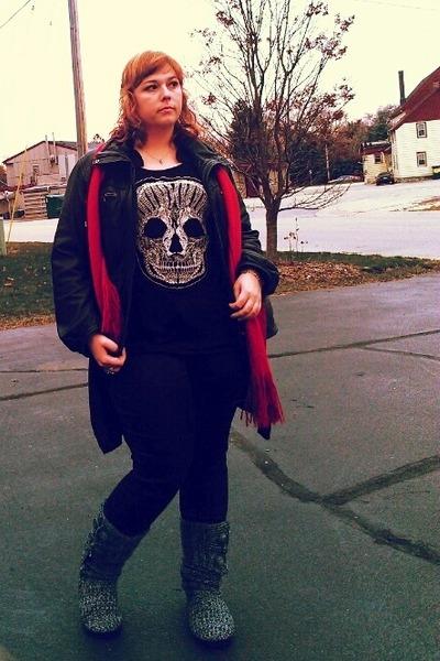 black Ana jacket - charcoal gray Candies boots - black Buffalo Exchange t-shirt