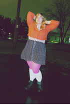 coral thrifted cardigan - black combat army surplus boots - navy SweetRain dress
