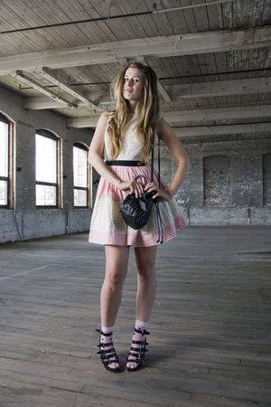 pink vintage dress - black Forever 21 shoes - pink modcloth socks - black H&amp;M ba