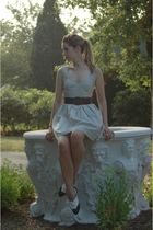 white Spotted Moth dress - blue vintage belt - blue vintage shoes
