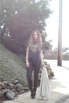 gold Etsy necklace - black Jeffrey Campbell boots - bronze Kill City jeans