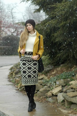 black modcloth skirt - black Jeffrey Campbell boots - mustard modcloth jacket