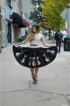dark gray vintage skirt - brick red vintage belt - light pink vintage top