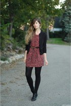 black Jeffrey Campbell boots - brick red Line & Dot dress