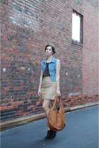 blue thrifted vintage vest - black Jeffrey Campbell boots - tawny BaliELF bag