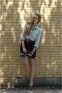 Blue-jcrew-shirt-black-vintage-skirt-brown-vintage-belt-brown-vintage-shoe