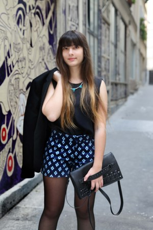black Mango blazer - navy Zara shorts - aquamarine triangle H&M necklace